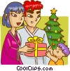Family on Christmas morning Vector Clipart picture