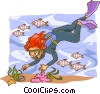 Scuba diver with fish Vector Clipart graphic