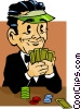 Vector Clip Art image  of a poker player