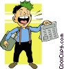 Vector Clip Art image  of a newspaper boy