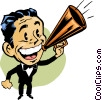 Vector Clip Art graphic  of a Man making announcements