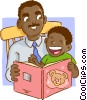 Vector Clip Art picture  of a Father and son reading a book