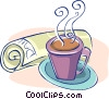 morning coffee with today's newspaper Vector Clipart graphic