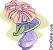 flower in a vase Vector Clip Art picture