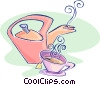 Vector Clip Art graphic  of a teapot with a cup of tea