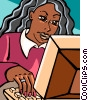 woman working at a computer Vector Clipart graphic