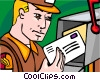 Vector Clip Art picture  of a letter carrier