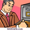 Vector Clipart graphic  of a man with filing cabinet