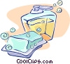 bar of soap with liquid soap dispenser Vector Clipart illustration