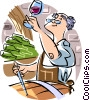 Vector Clip Art picture  of a man making wine