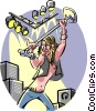 Rock star performing Vector Clip Art picture