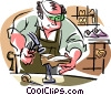 Shoemaker, shoe repairs Vector Clipart image