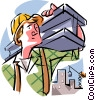 Vector Clip Art picture  of a construction worker