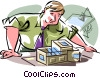 Vector Clip Art image  of an Architect designing home