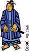 Vector Clip Art image  of a Chinese man in native dress