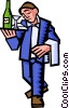 waiter with serving tray Vector Clip Art graphic