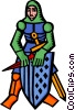 Vector Clip Art image  of a knight in armor