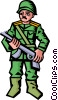 Vector Clipart graphic  of a soldier with gun
