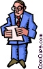 Vector Clip Art image  of a businessman reading notes