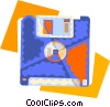 Vector Clip Art graphic  of a computer diskette