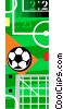 Vector Clip Art graphic  of a Soccer ball and field