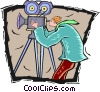 motion picture camera operator Vector Clipart image