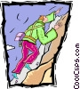 Vector Clip Art image  of a mountain climber