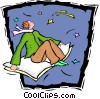 Vector Clipart image  of a magic carpet ride