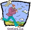 Vector Clipart image  of a man with a butterfly net