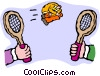Vector Clipart illustration  of a badminton