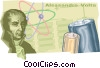 Alessandro Volta discovers volts Vector Clipart image