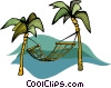 Vector Clipart picture  of a hammock between palm trees