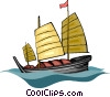 Vector Clip Art image  of a Chinese boat