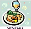 Salmon steak with wine Vector Clipart illustration