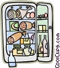 Vector Clip Art graphic  of a refrigerator fully stocked