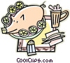 Vector Clipart graphic  of a Pig on a platter