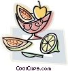 fruit in a dish Vector Clip Art graphic