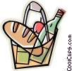 Vector Clipart graphic  of a bag of groceries
