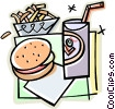 fast food, hamburger, drink and fries Vector Clip Art picture