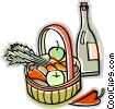 basket of fruit and vegetables Vector Clipart picture