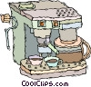 Vector Clip Art image  of a cappuccino machine