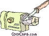 Vector Clip Art graphic  of a knife sharpener
