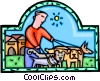 walking the dog Vector Clip Art picture
