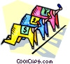 Business racers at the starting blocks Vector Clip Art graphic