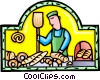 Vector Clip Art image  of a Baker with bread