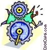 business getting stuck in the gears of progress Vector Clipart illustration