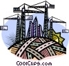 Vector Clipart graphic  of a Construction cranes
