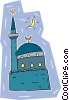 minaret with mosque Vector Clip Art image