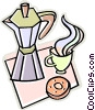 tea pot, donut Vector Clip Art graphic