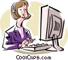 Vector Clip Art graphic  of a receptionist